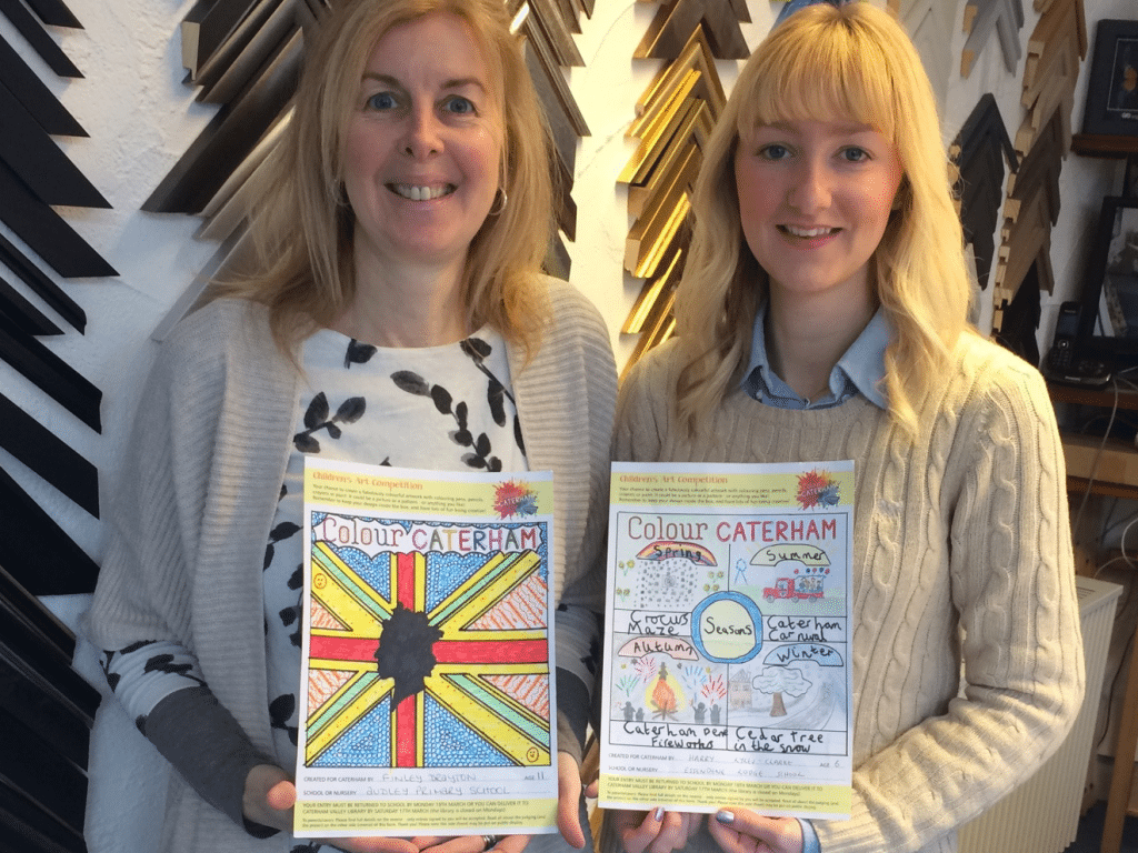 June Allen and Jodie Green from Caterham Galleries with the winning entries