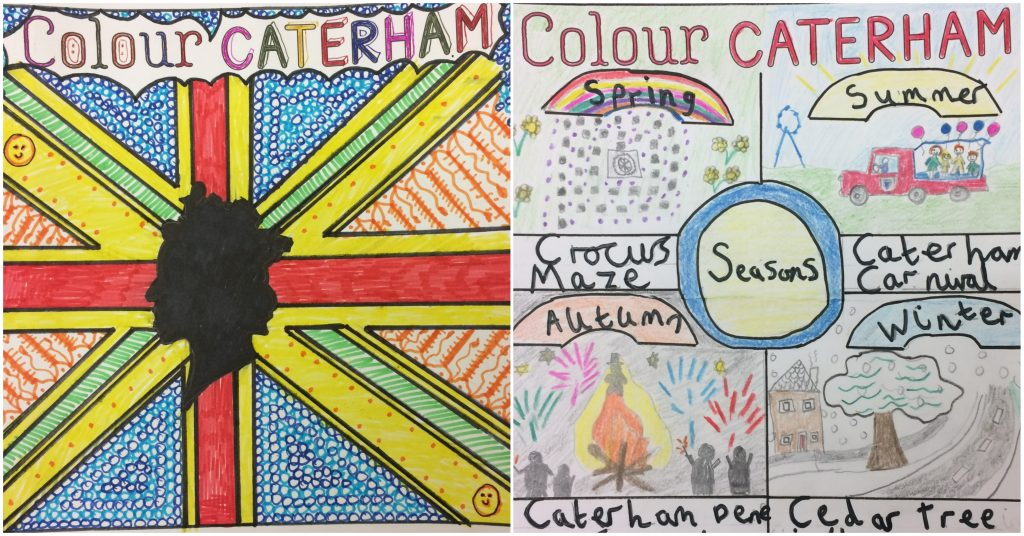 The two winning Colour Caterham children's colouring competition images