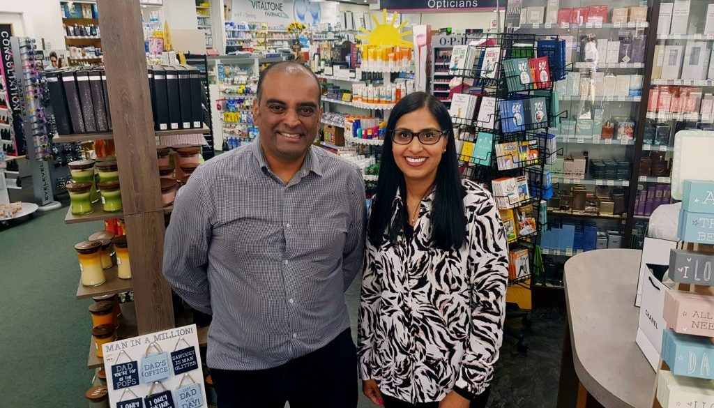Shim and Monical Patel from Vitaltone Pharmacy and Vitaleyes Opticians. Caterham Valley web
